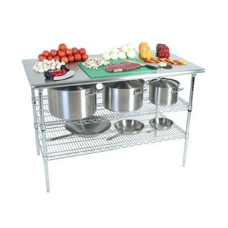 WORK TABLE S/STEEL - 2 TIER - PLAIN TOP - 1300 x 690 x 870mm - 1