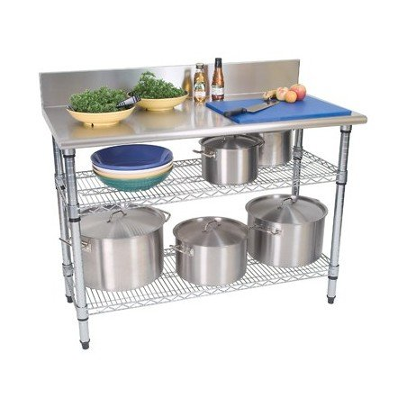 WORK TABLE S/STEEL - 2 TIER - SPLASHBACK - 1300 x 690 x 870mm - 1