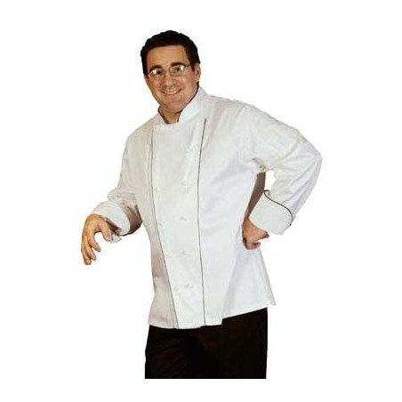 CHEFS UNIFORM EGYPTIAN COTTON EXEC DBL PIPING LONG  - X-SMALL - 1