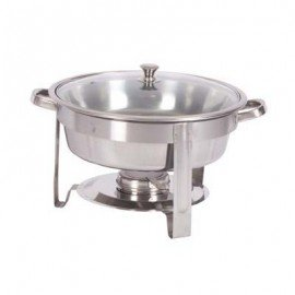 CHAFING DISH S/STEEL - ROUND W/GLASS LID - 4LT