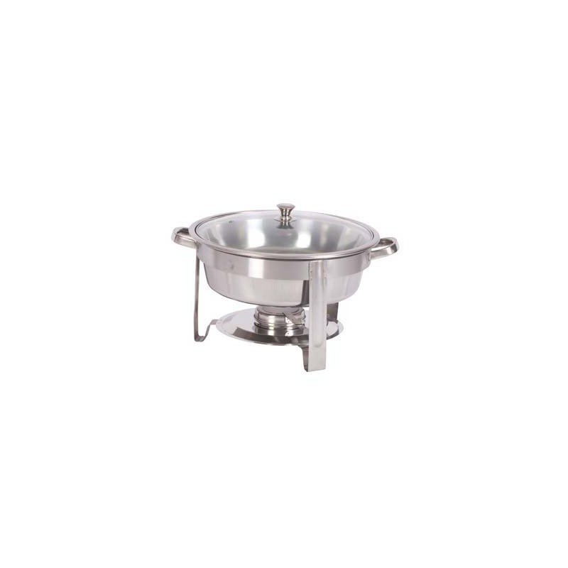 CHAFING DISH ROUND  WITH GLASS LID - POLISHED - 1