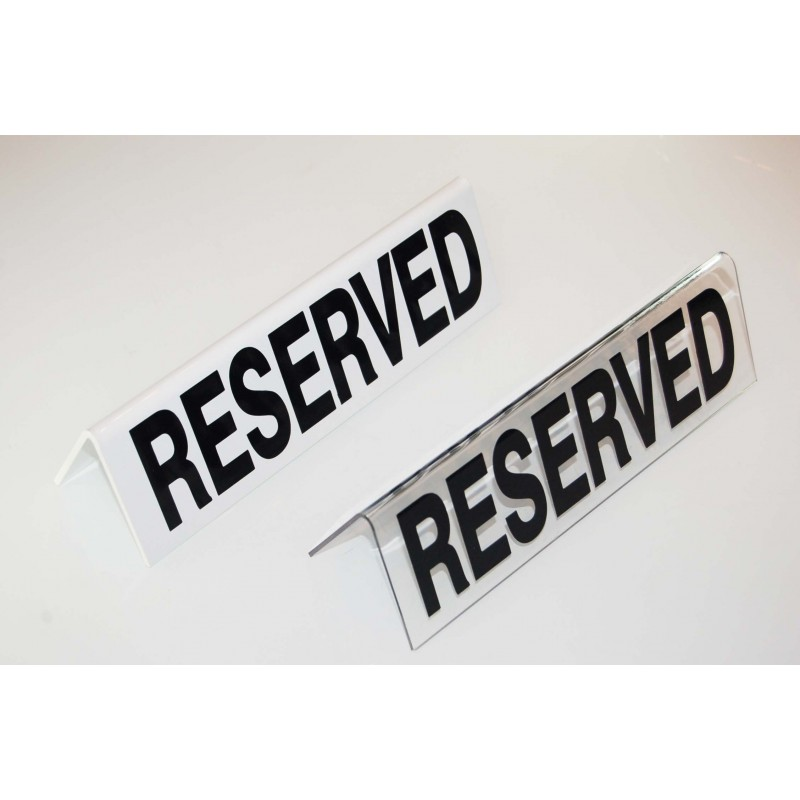 RESERVED TABLE SIGN - PLASTIC - WHITE - 1