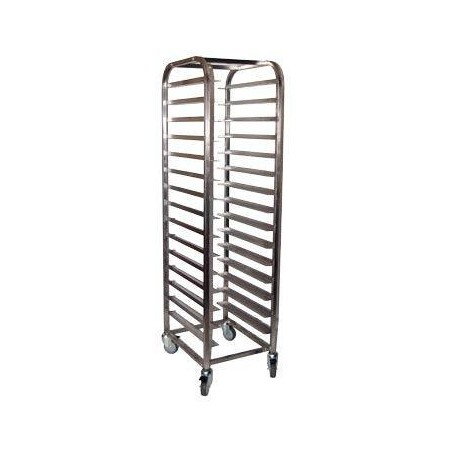 MOBILE TRAY TROLLEY S/STEEL - 15 SHELVES - 1