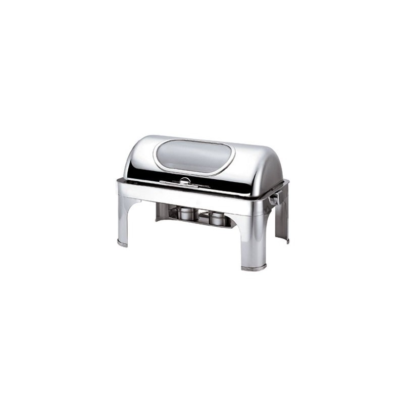 CHAFING DISH RECTANGULAR - ROLL TOP WITH WINDOW - 1