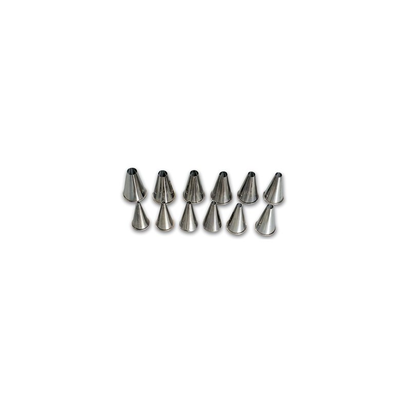 NOZZLE SET STAINLESS STEEL PLAIN  12 PIECE